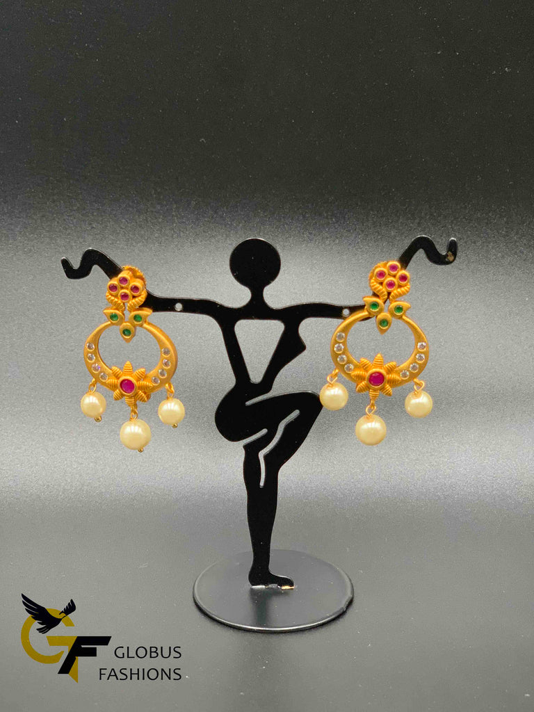 Small multicolor stones with pearls chandbali earrings