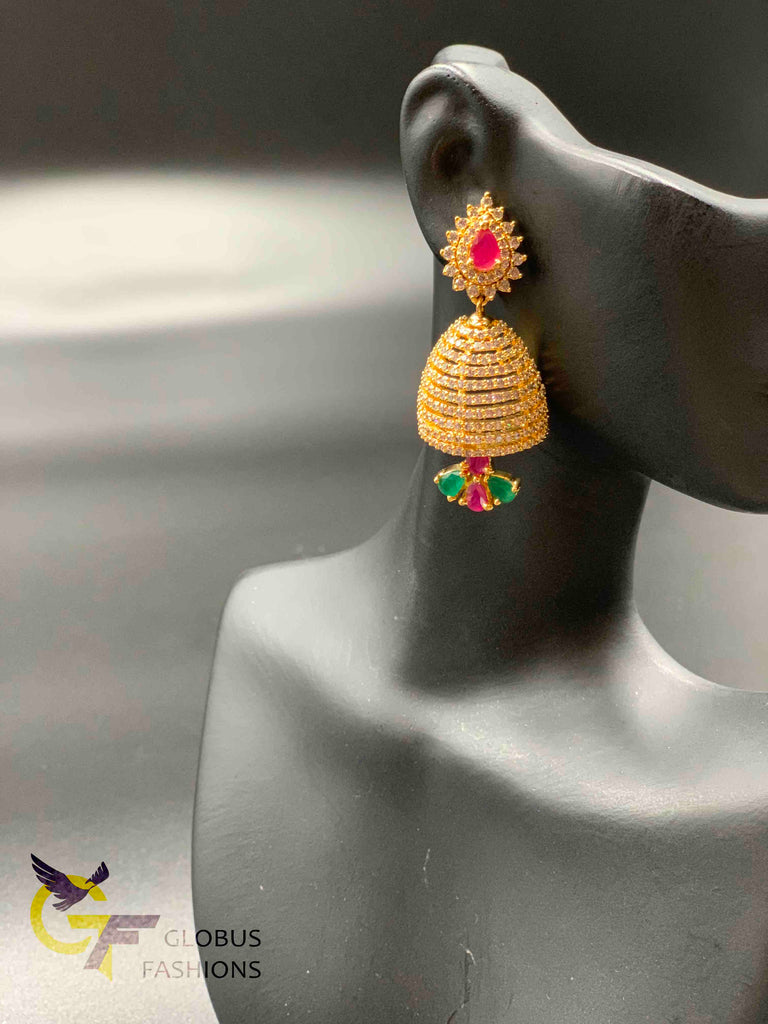 Multicolor stones medium size jumka earrings