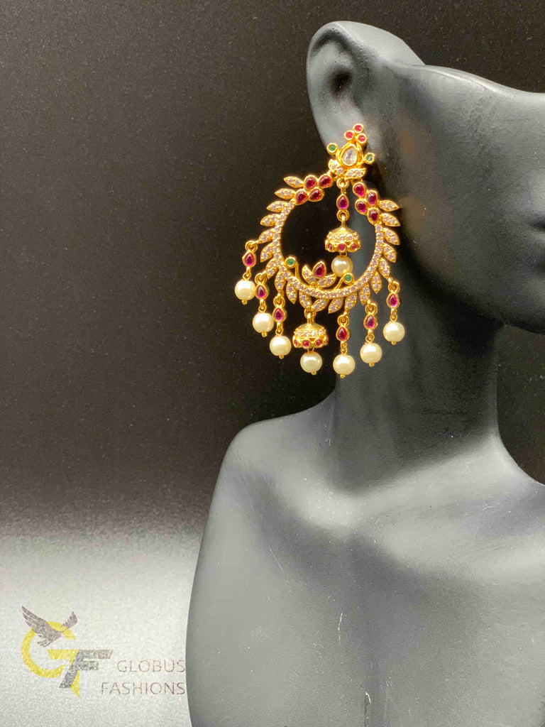 Traditional look ruby stone and cz stones with pearls chandbali earrings