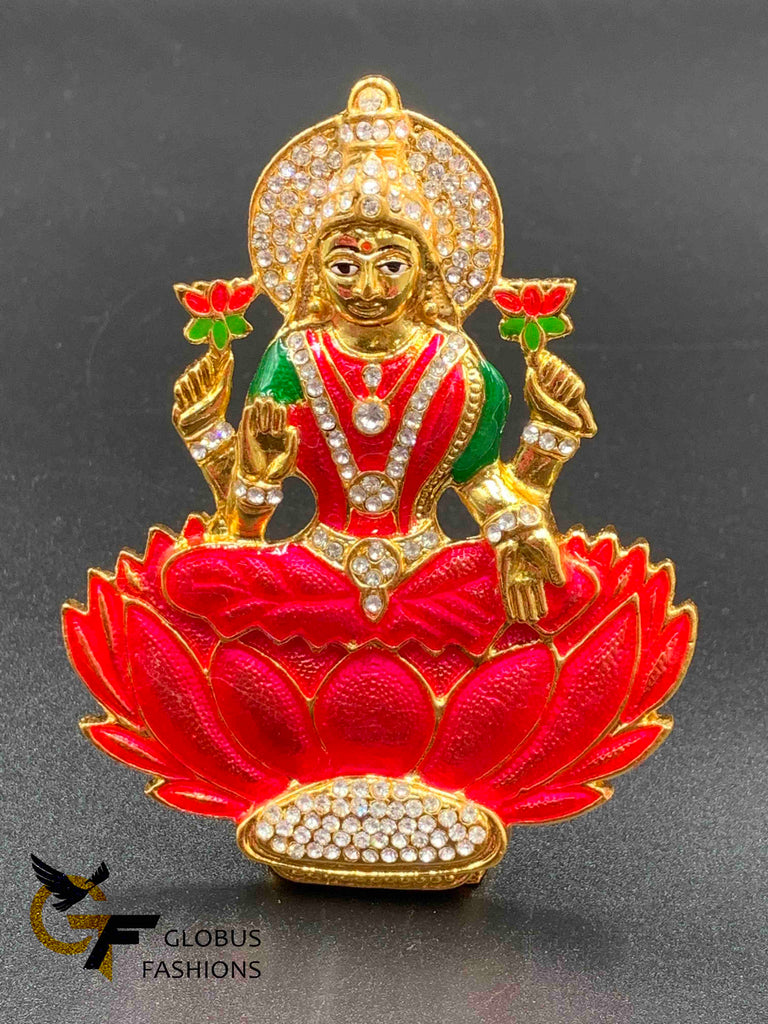 Bright pink color handmade enamel paint Lakshmi God idol