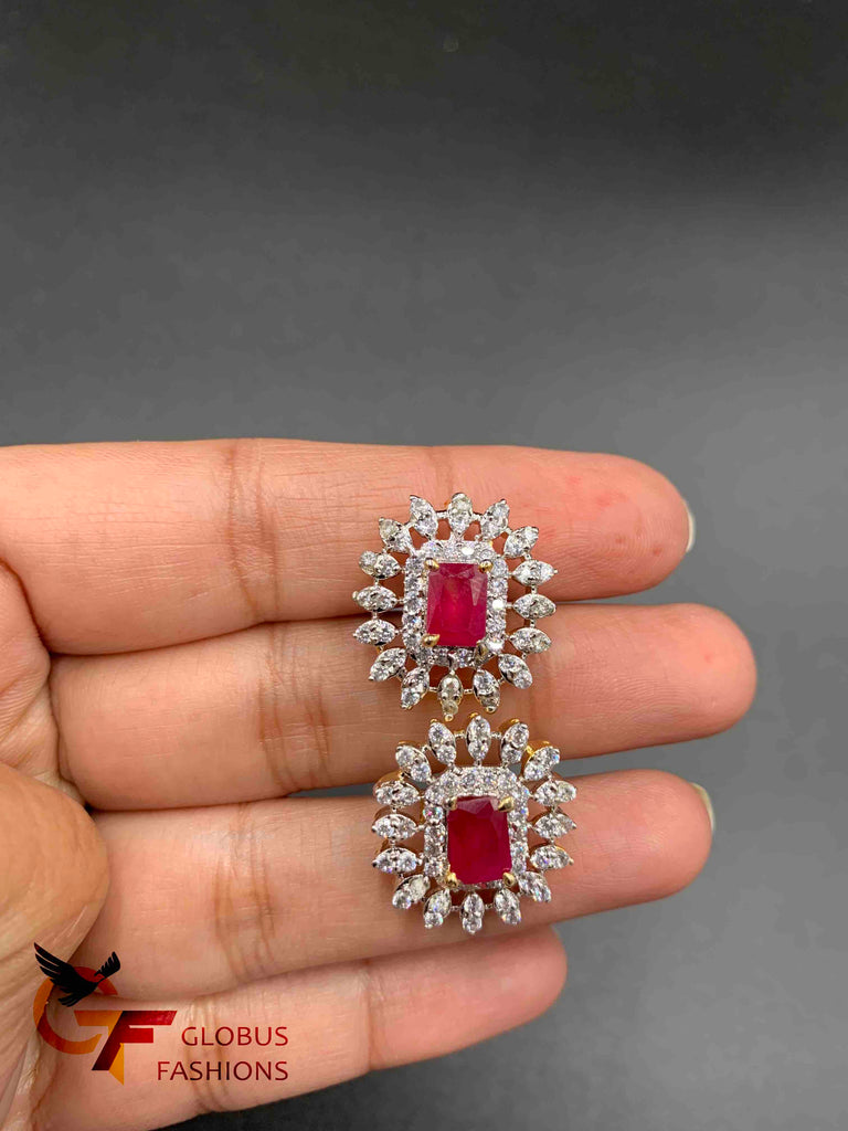 Ruby beads with cz stones small attached pendents with matching earrings