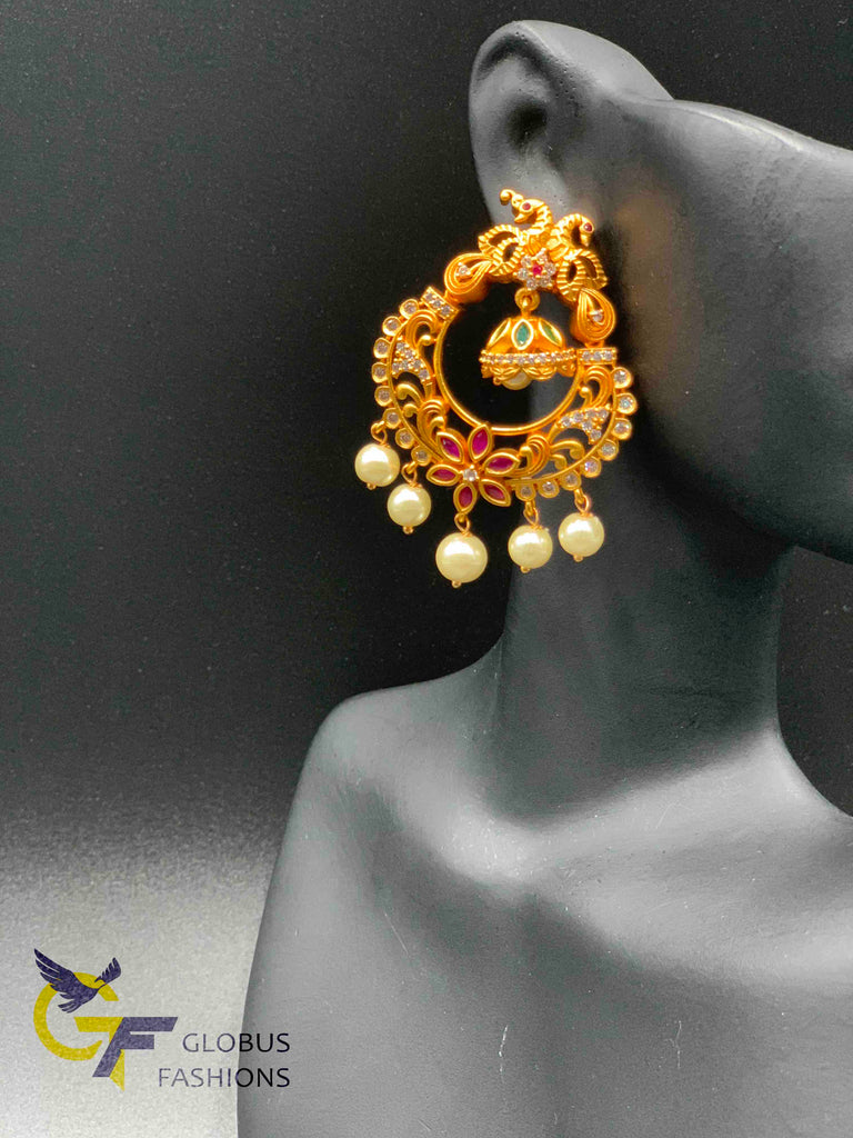 Peacock design multicolor stones with pearls chandbali earrings