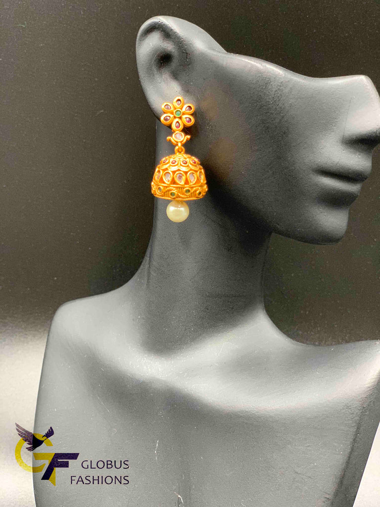 Traditional and antique look multicolor stones jumka earrings