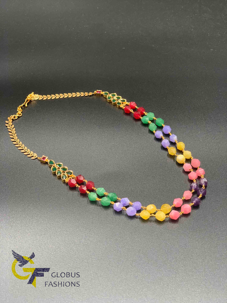 Multicolor stones with emerald stones double line beads chain