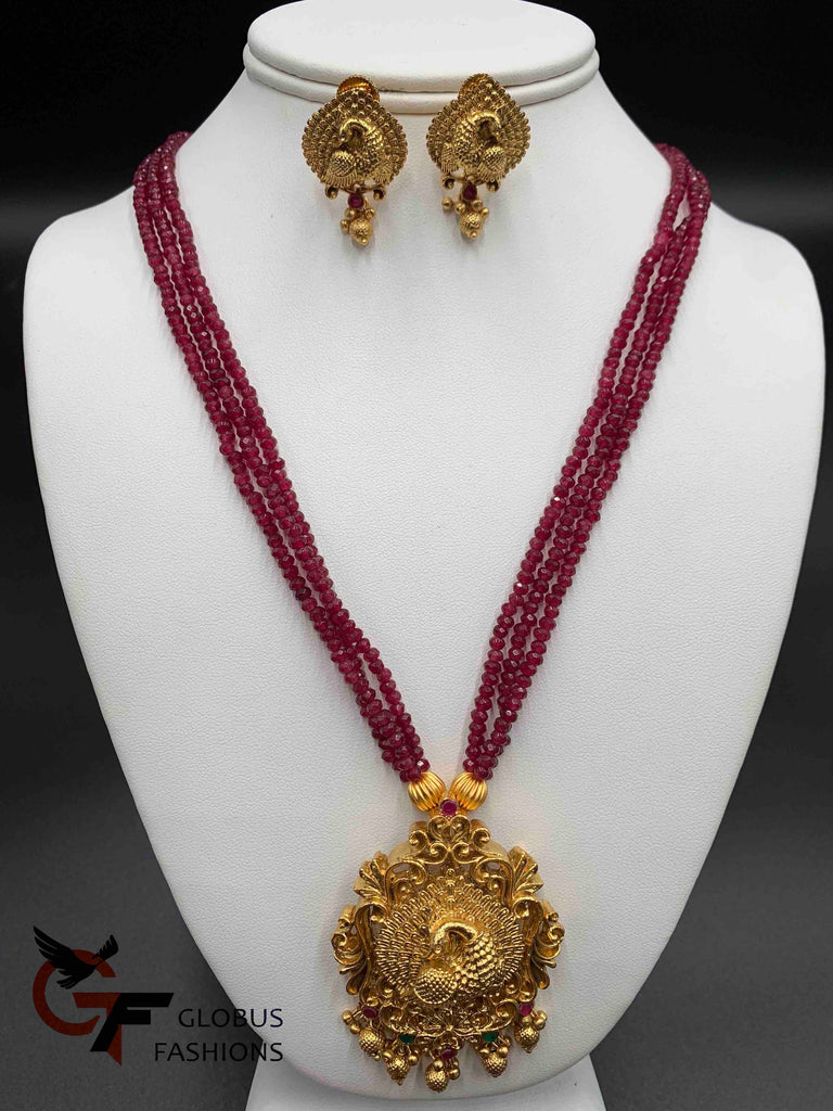 Peacock design antique look design pendant set with natural ruby beads chain