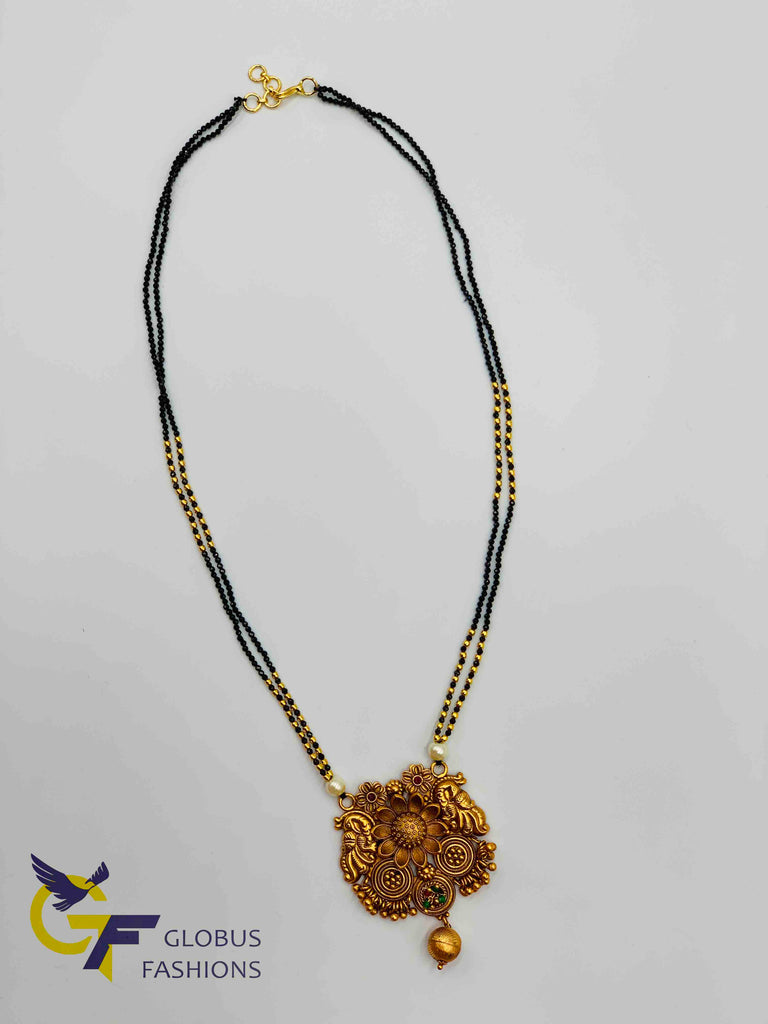 Cute black diamond beads chain with antique look peacock with flower design pendant