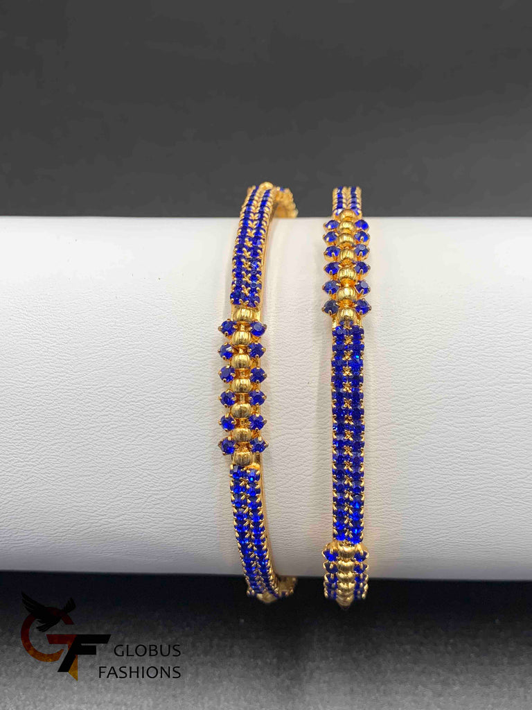 Bright blue stones set of two bangles