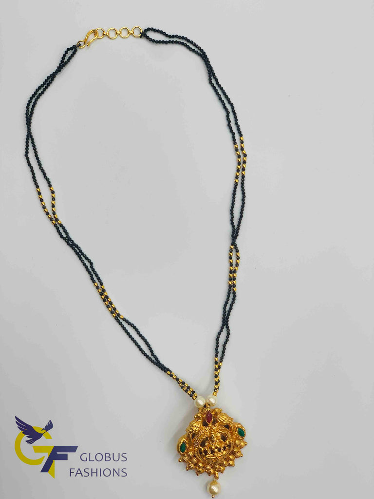 Beautiful and traditional look Lakshmi print pendant with black beads chain