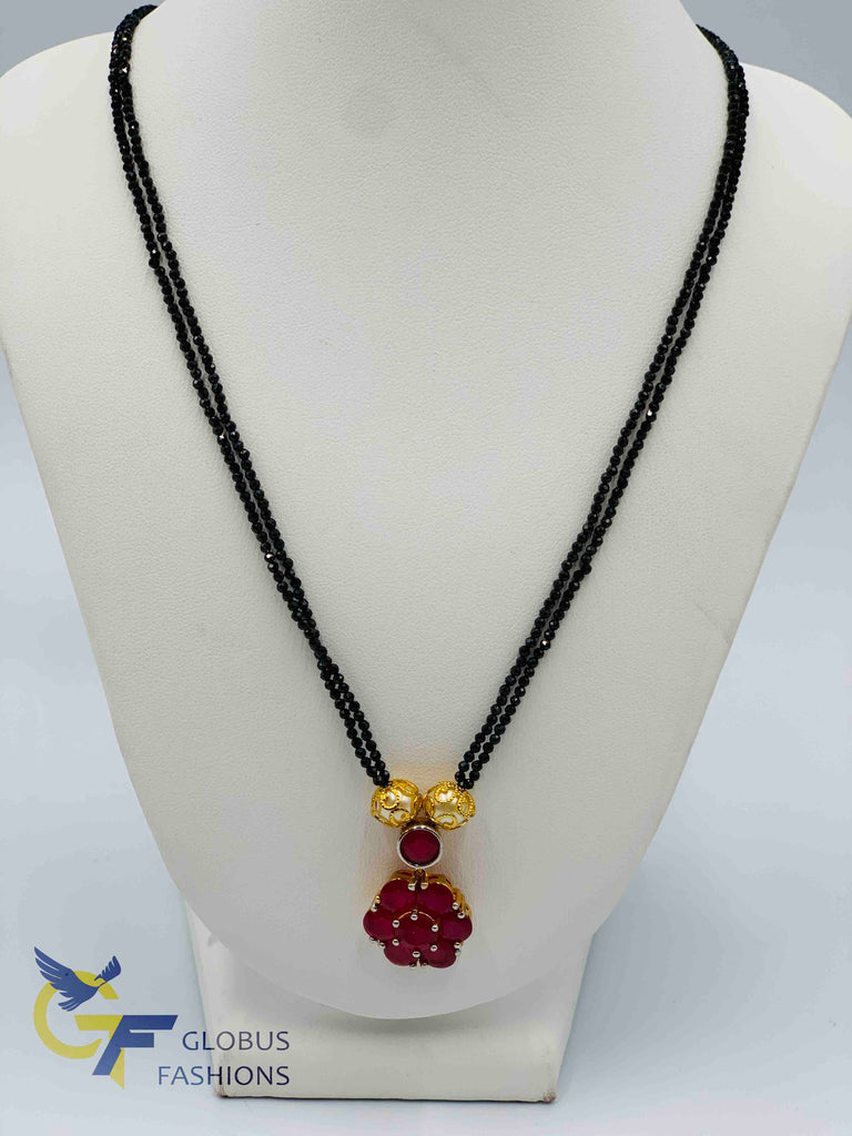 Double line black beads chain with ruby stones pendant