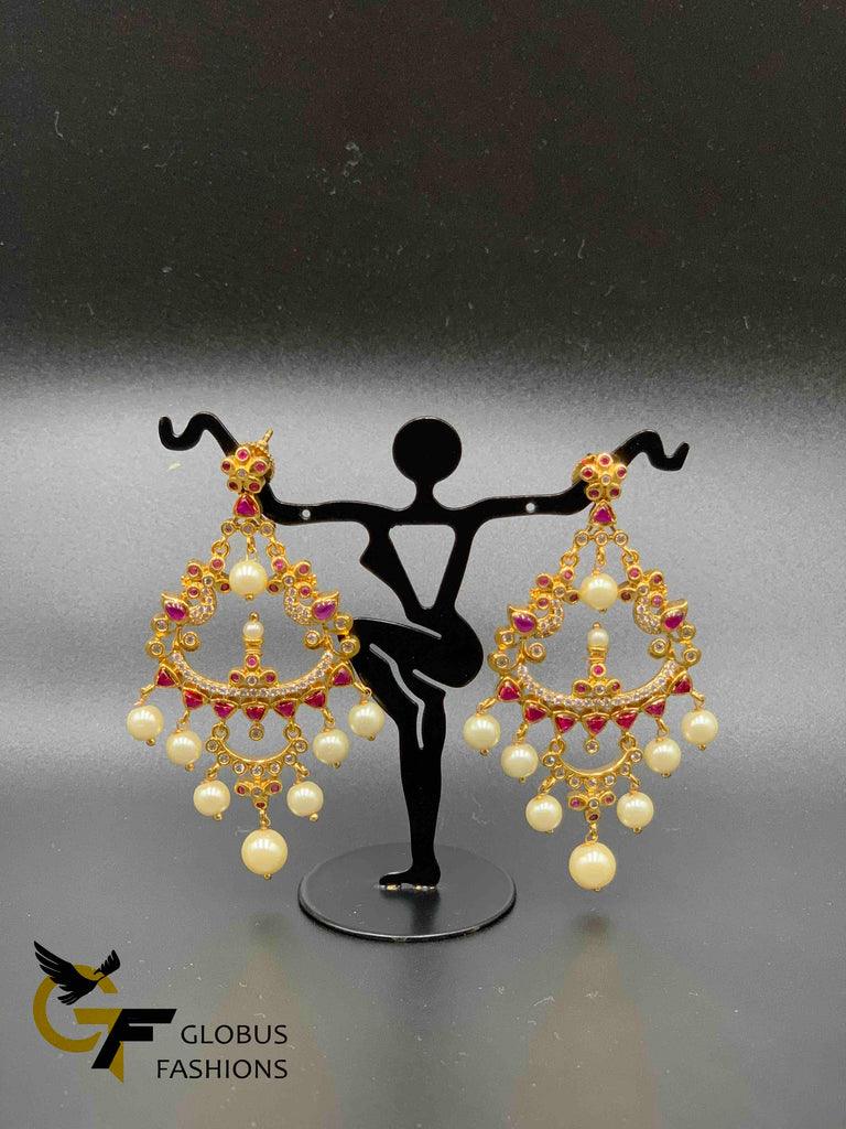 Beautiful peacock design ruby and cz stones with pearls chandbali earrings