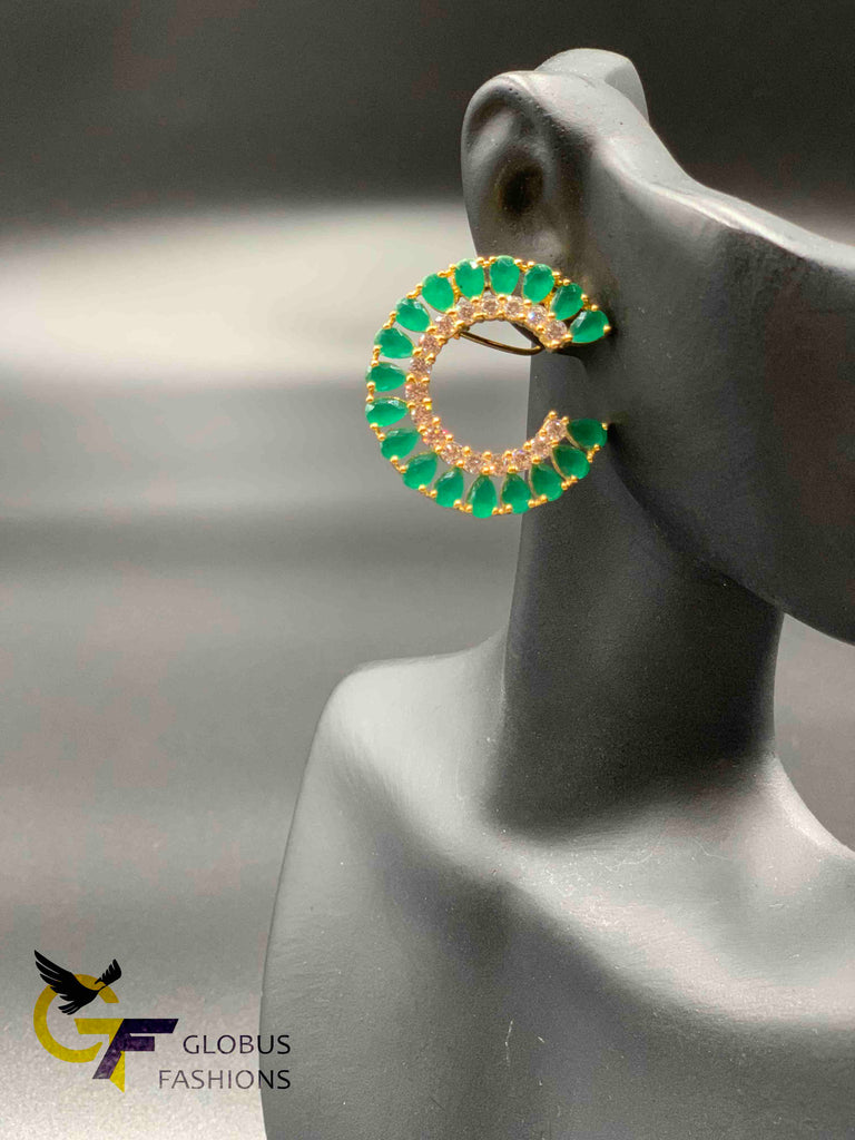 Elegant look emerald and ruby with cz stones earrings