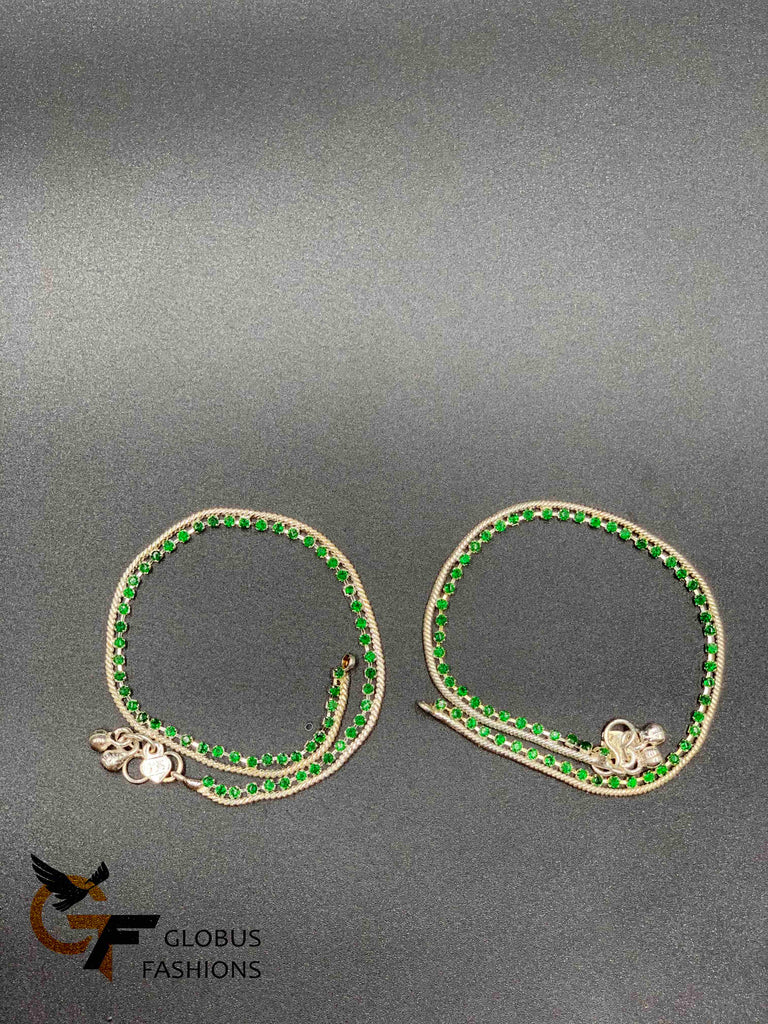 Silver chain with green color stones anklets