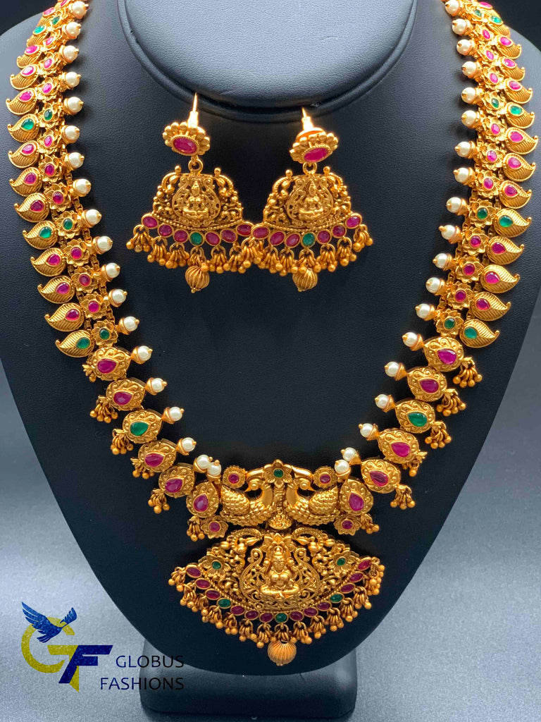 Beautiful and traditional antique temple design multicolor stones necklace set
