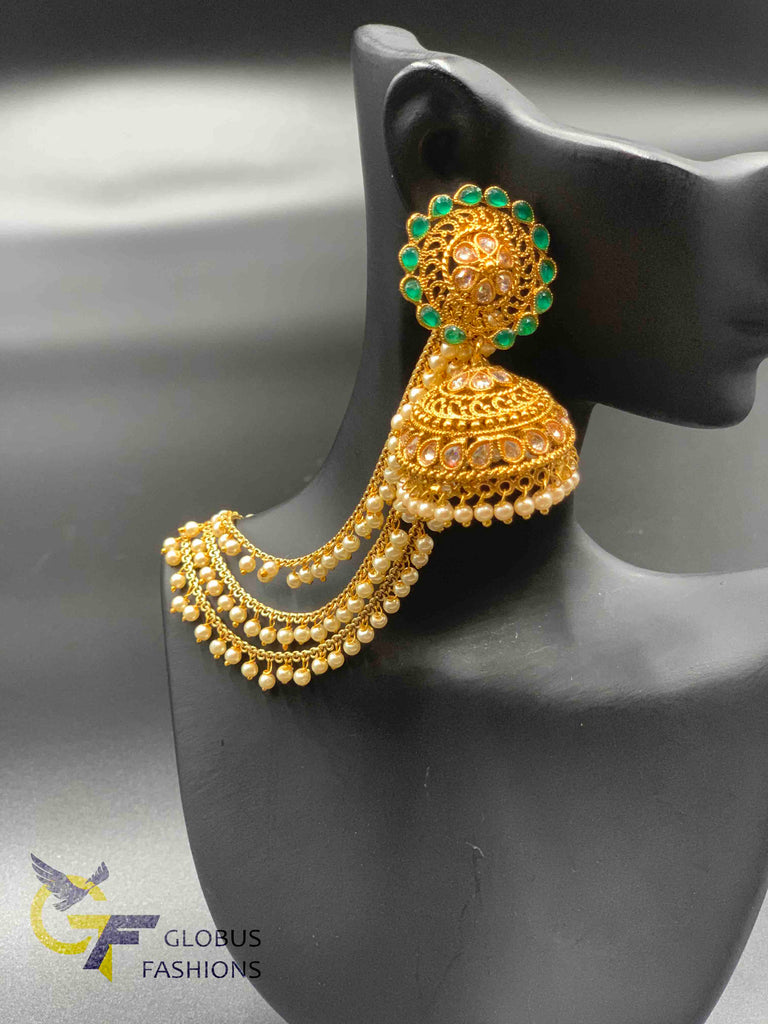 Antique look big size jumka earrings with pearls drop and danglings
