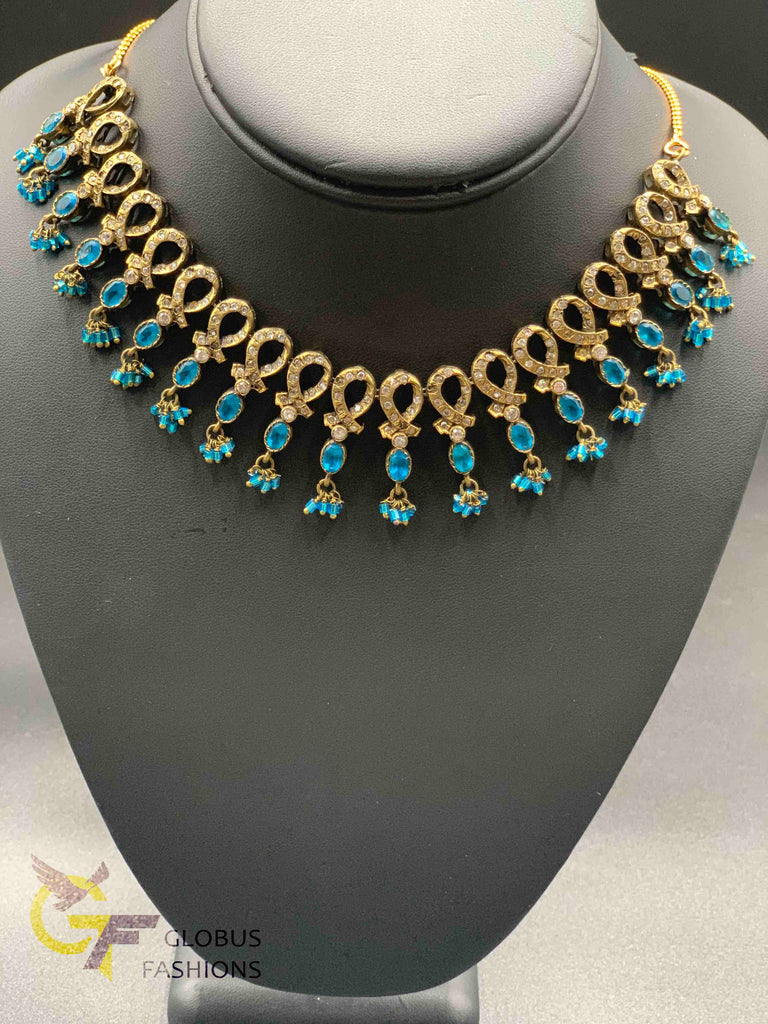 Blue color stones with white color stones Victorian jewelry necklace set