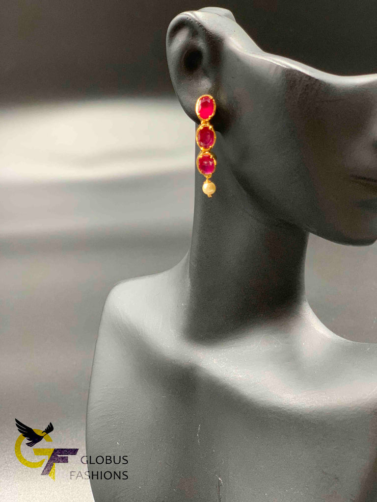 Bright ruby stones with pearls earrings