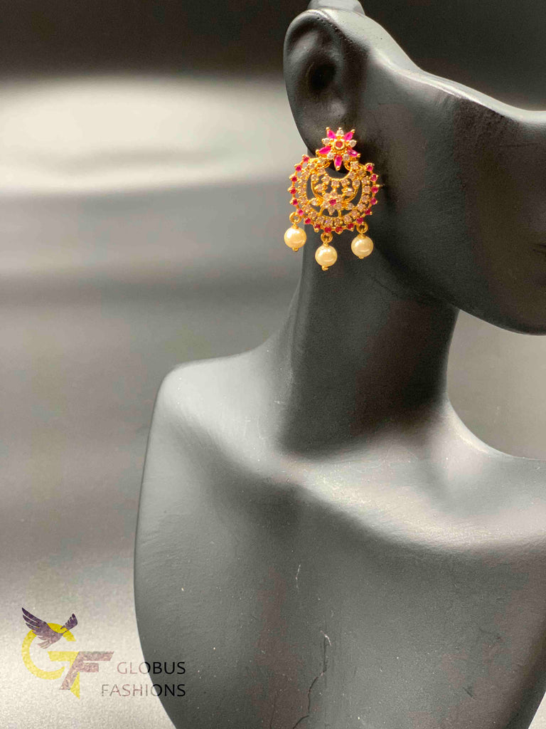 Ruby stones and cz stones with pearls chandbali earrings