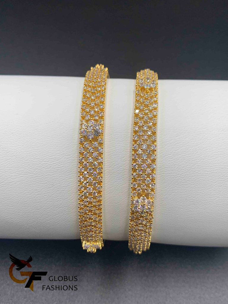 Cz stones bangles with small flower design