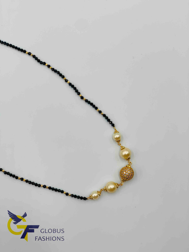 Black diamond beads chain with stones ball and pearls