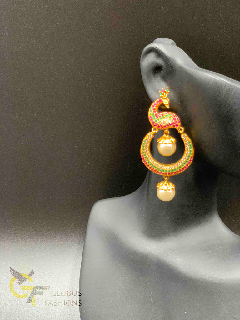 Beautiful and traditional look peacock design chandbali earrings