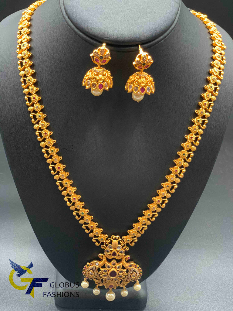Cute flower design antique look long necklace set
