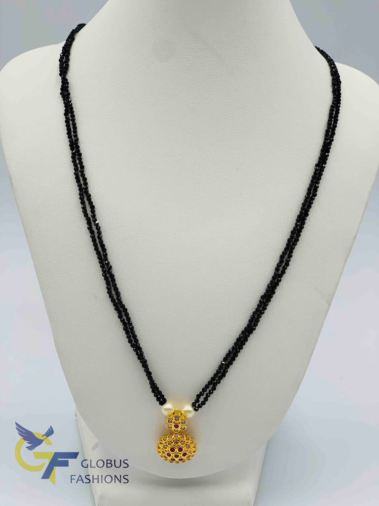 Double line black beads chain with uncut cz stones with multicolor stones pendant