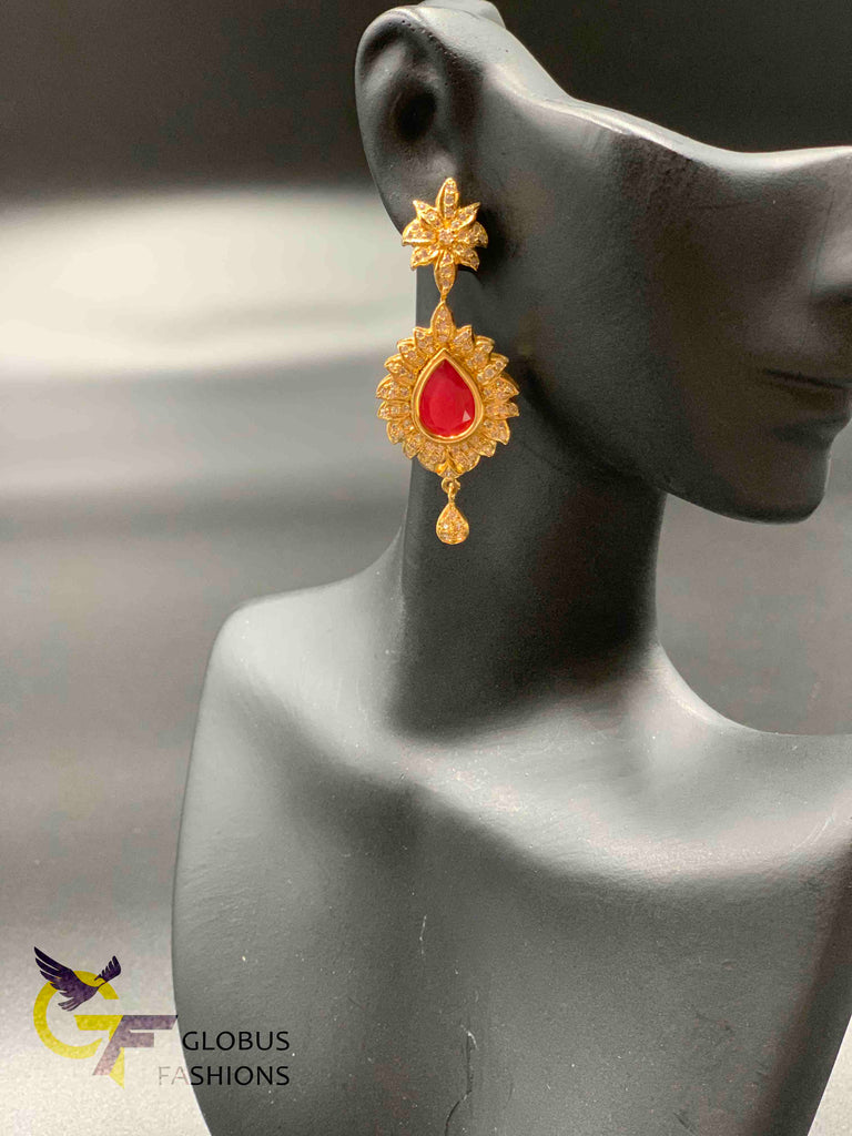 Cz stones and ruby stones long earrings