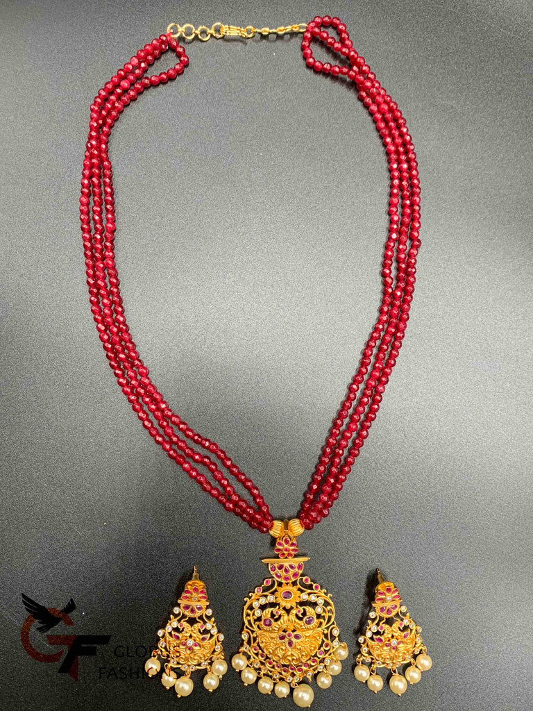 Ruby beads with matching antique pendant set