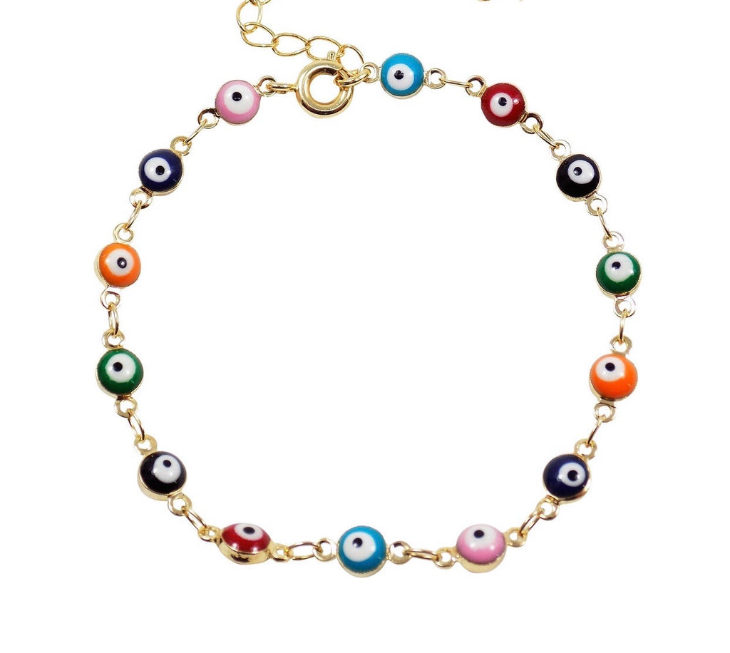 Multicolor evil eye single anklet/bracelet