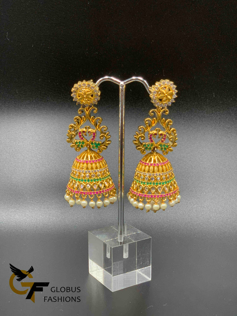 Multicolor stones with pearls big size jumka earrings
