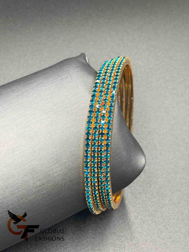 Bright sea green stones set of four bangles