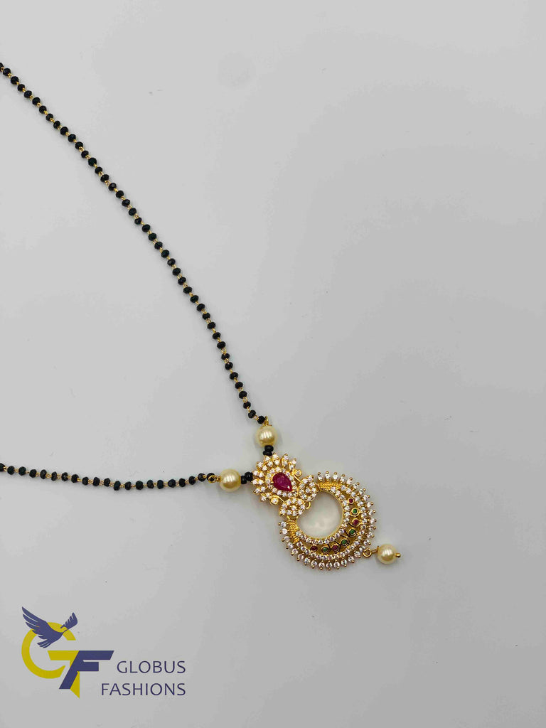 Elegant design multicolor stones pendant with a single line black diamond beads gold chain