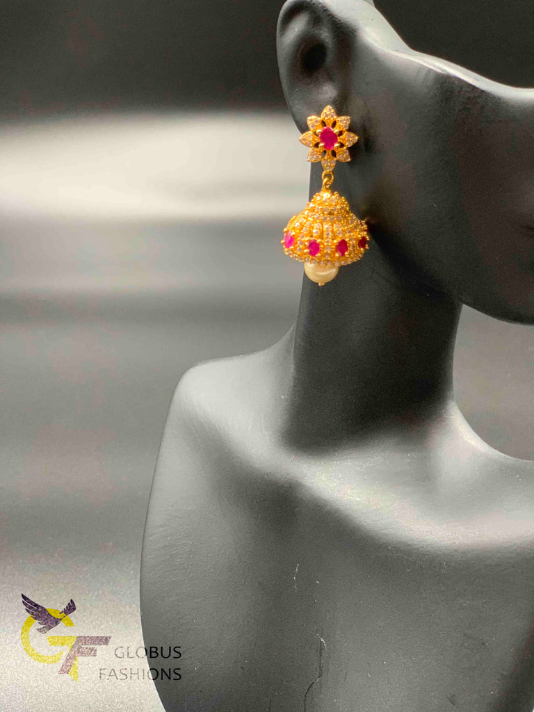 Cz stones and ruby stones jumka earrings