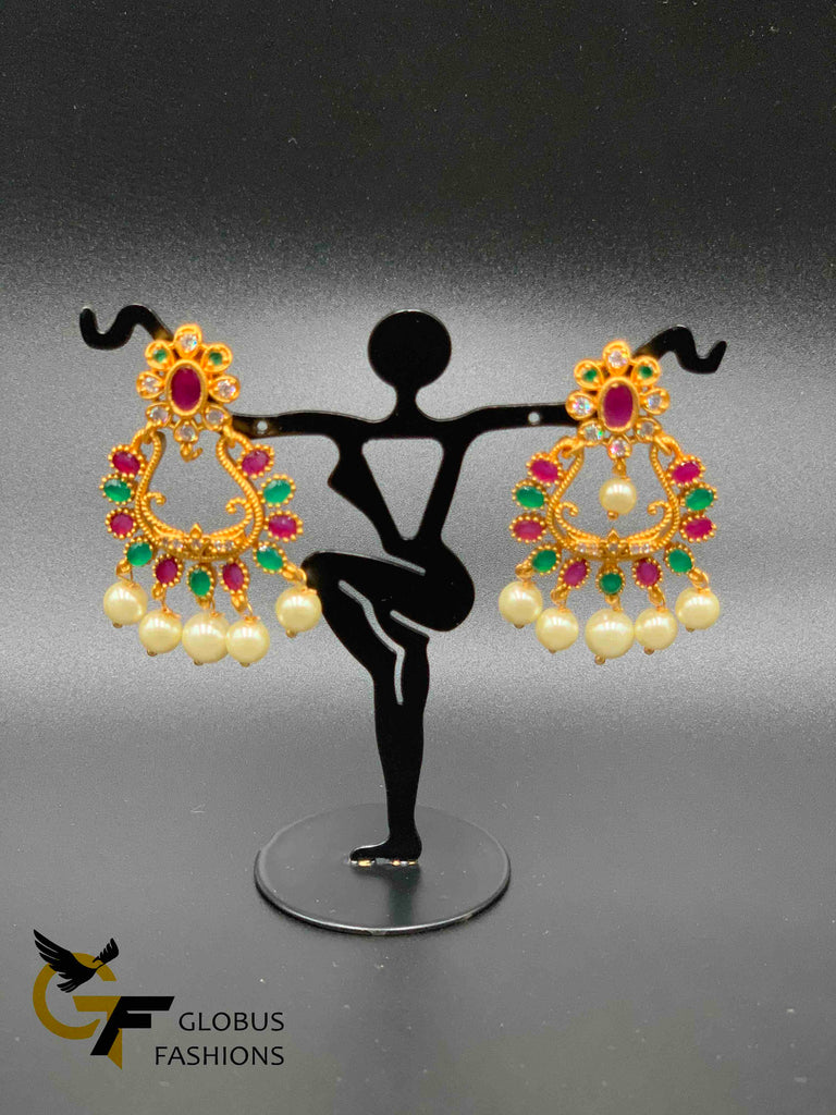Different color stones chandbali earrings