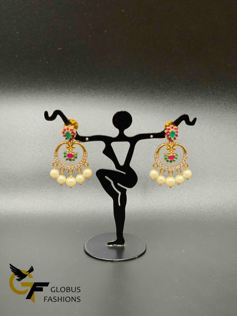 Multicolor stones with pearls chandbali earrings