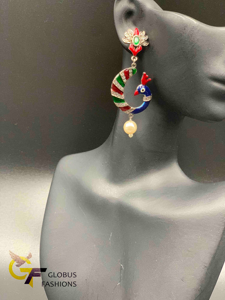 Cute enamel paint peacock design German silver earrings