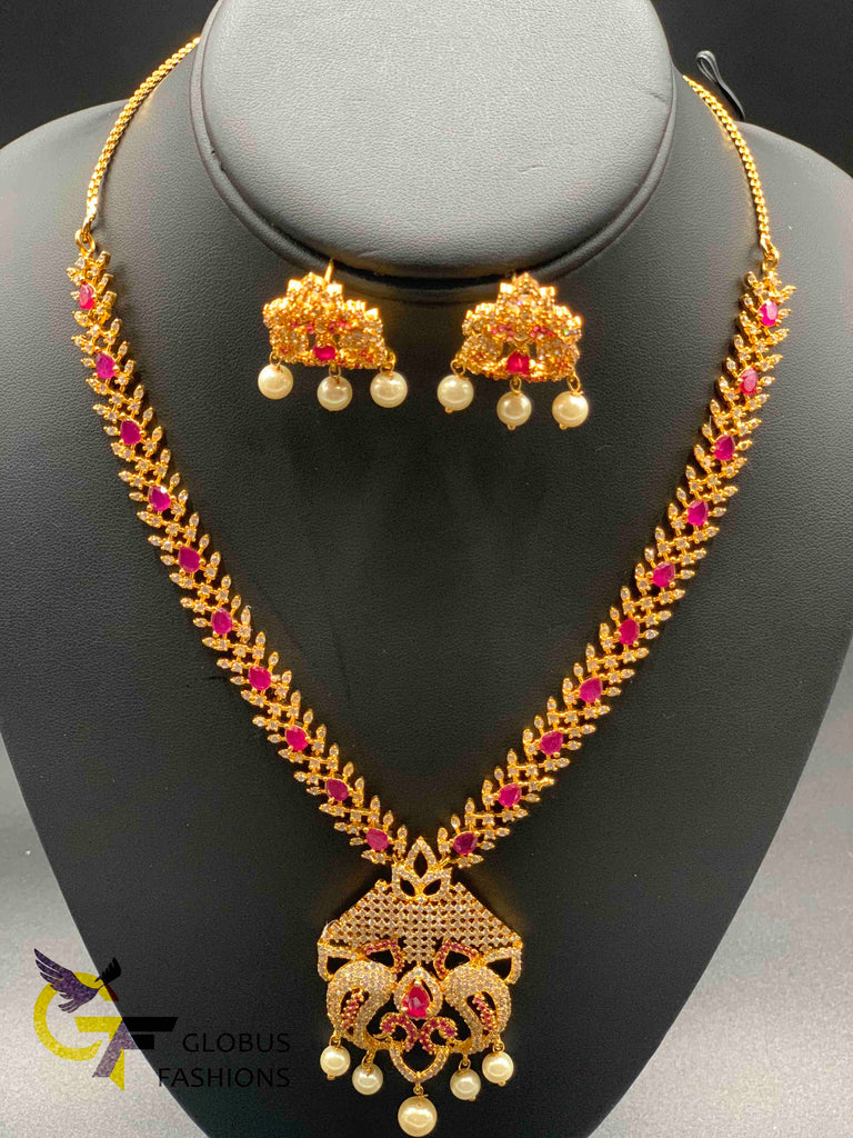 Cz stones and Ruby stones peacock design necklace set