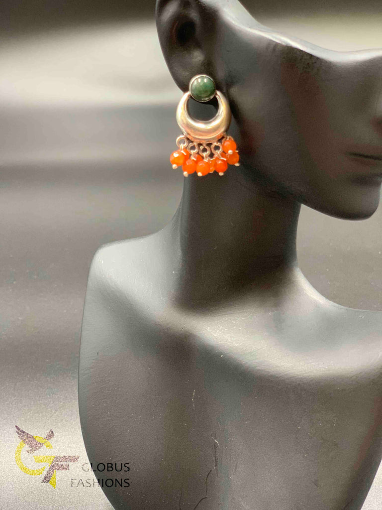 Oxidized German silver different color beads chandbali earrings