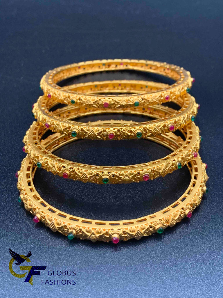 Antique look bangles with multicolor stones set of four bangles