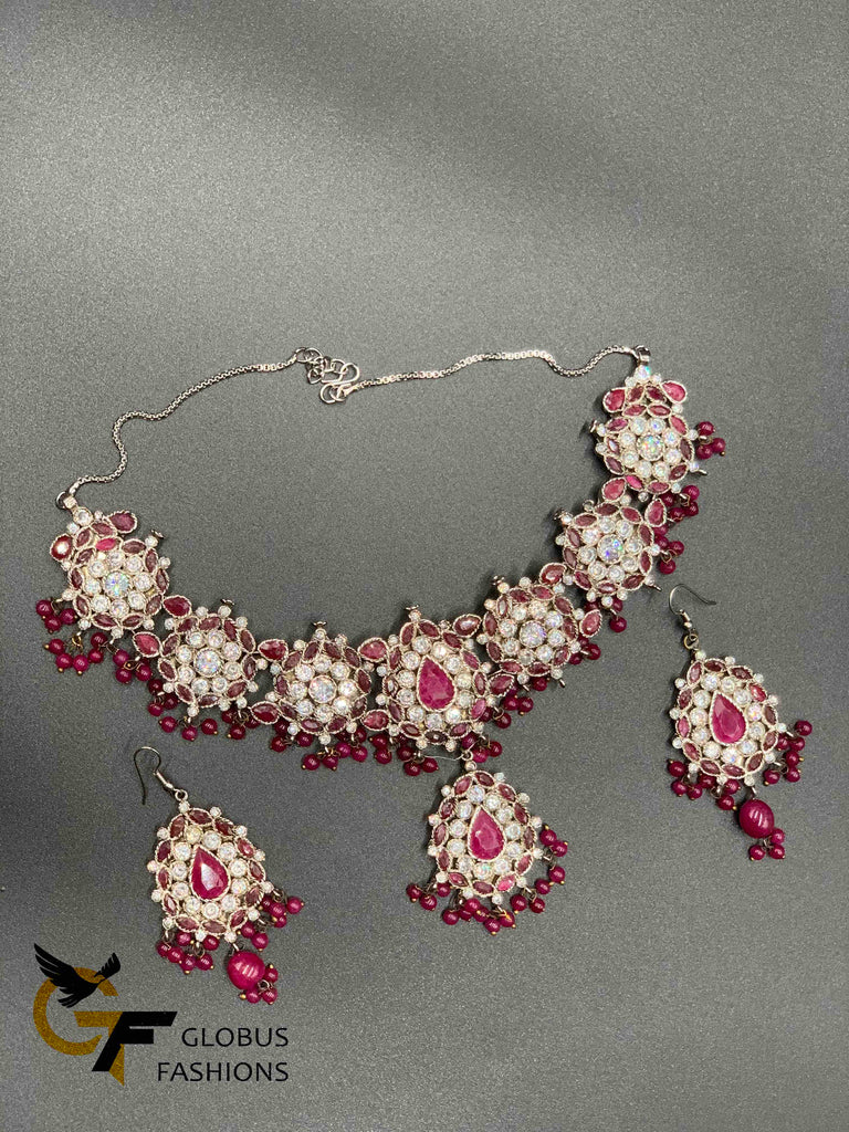 Traditional look cz stones with ruby stones Victorian jewelry necklace set