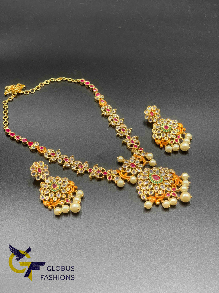 Uncut ca stones with multicolor stones necklace set
