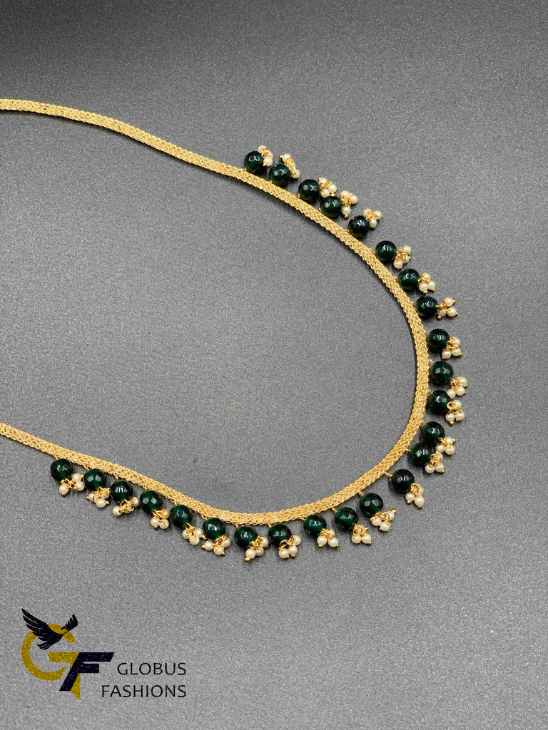 Thick cz stones mesh chain with pearls and green stones
