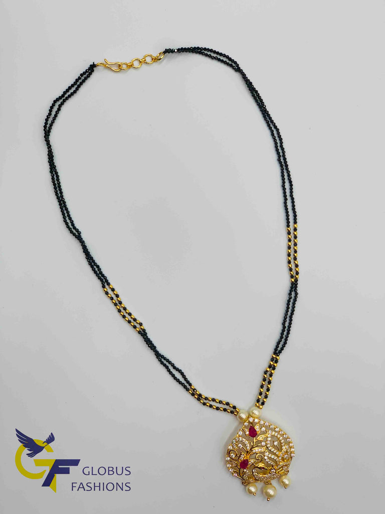 Elegant peacock design pendant with black diamond beads chain