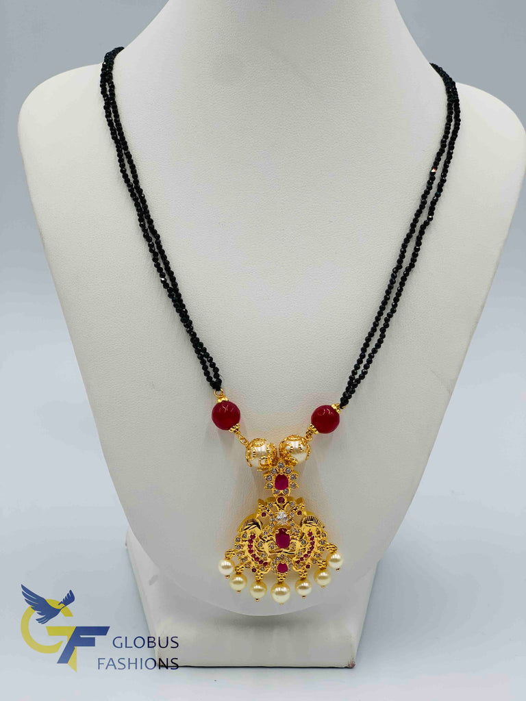 Traditional look peacock design pendant with black diamond beads chain