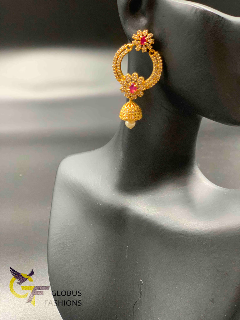 Cz stones and ruby stones chandbali jumka earrings