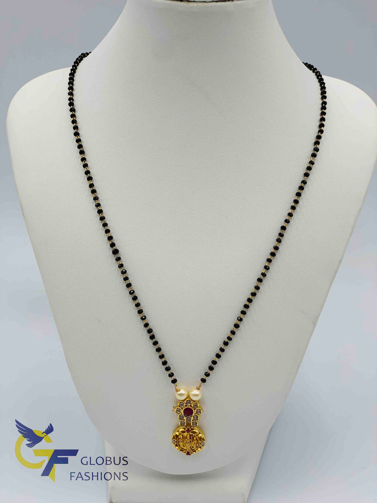 Ram Parivar small pendant with a single line black diamond beads chain