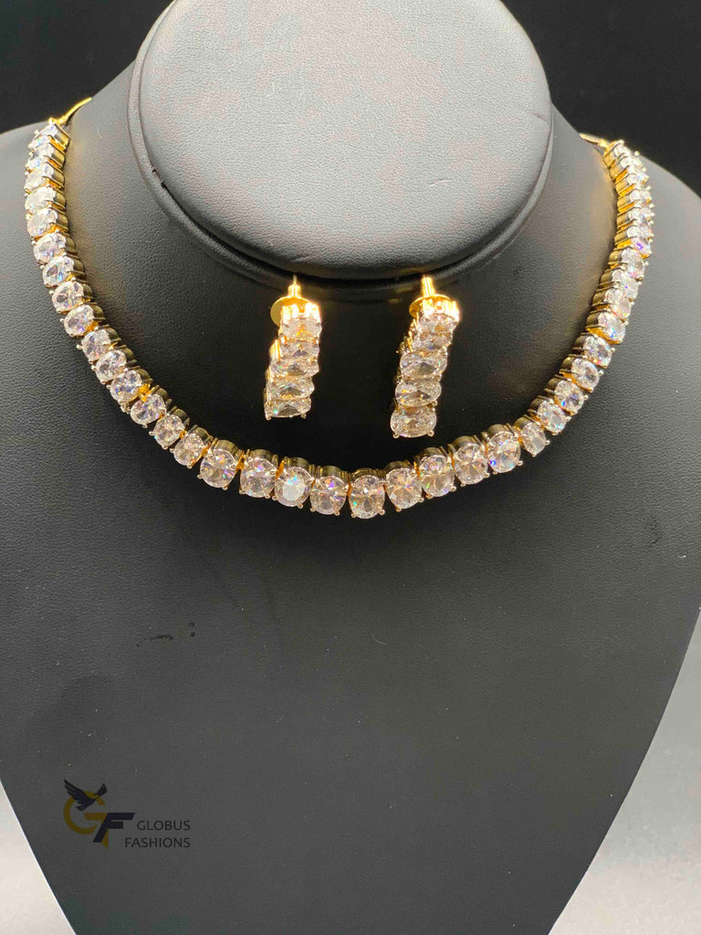 Cz stones Diamond design single line necklace set