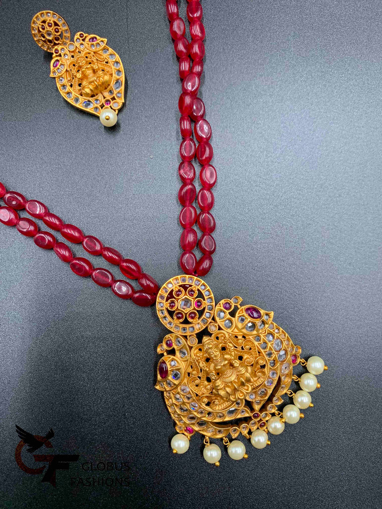 Natural ruby beads with antique  traditional Lakshmi print uncut stones and pearls long chain