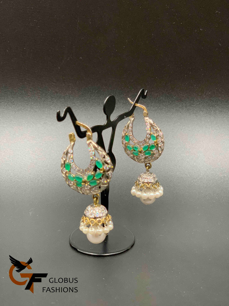 Cz stones and emerald stones with pearls jumka earrings