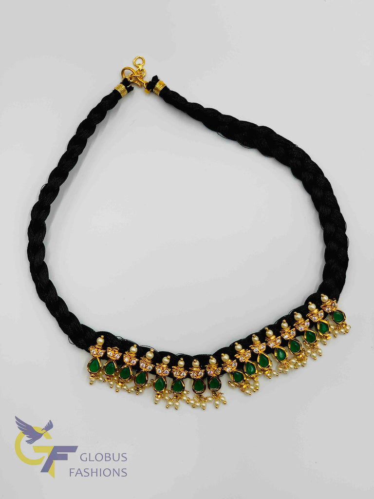 Emeralds and cz stones with pearls pendants with black silk thread braided chain